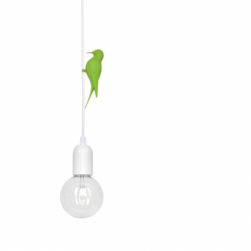 Suspension oiseau Vert LETI LED / Câble Blanc / Studio Macura