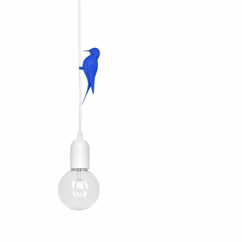 Suspension oiseau Bleu 3D LETI / Câble Blanc / Studio Macura