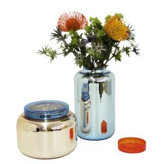"""Vase haut """"Container"""" / Vieux Rose et Bleu"""