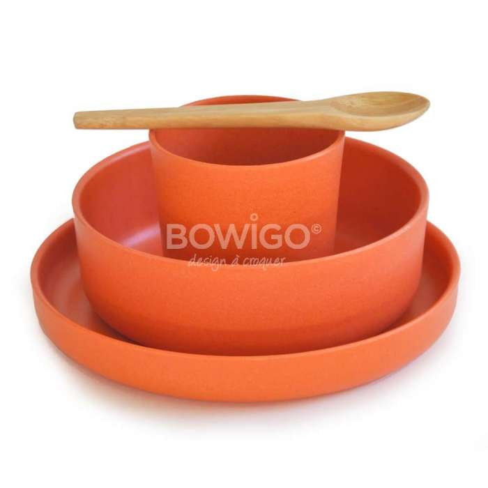 Set couverts en bambou BIOBU orange - Ekobo