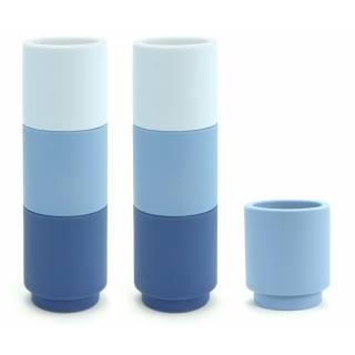 Déco Cookut - Set de 7 bougeoirs en silicone Moji bleu