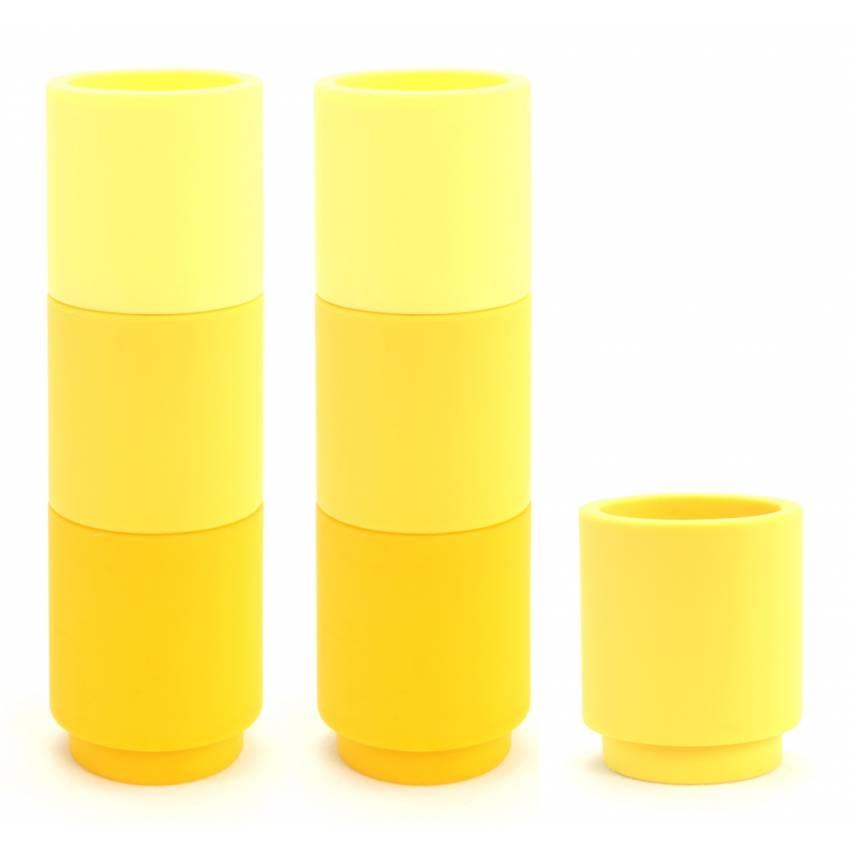 Déco Cookut - Set de 7 bougeoirs en silicone Moji jaune