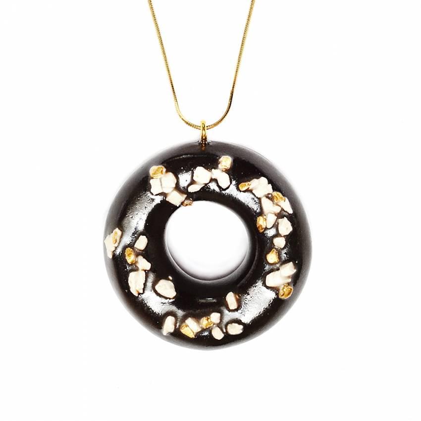 Sautoir donut en argile décoration en or 24K