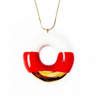 Sautoir donut en céramique décoration glaçage fraise et or