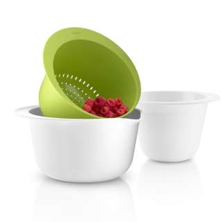 Set 2 saladiers et 1 passoire empilables blanc et vert - Eva Solo