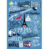 Linge de maison - Torchon à vaisselle PARIS / Bleu et multicolore