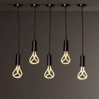 Suspension + douille E27 pour ampoule LED / Noir / PLUMEN