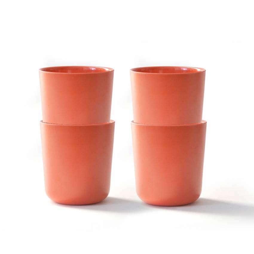 BIOBU 4 gobelets en bambou orange pour enfant - Ekobo
