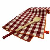 Cuillère en bois et Torchon à vaisselle / Rouge et Blanc