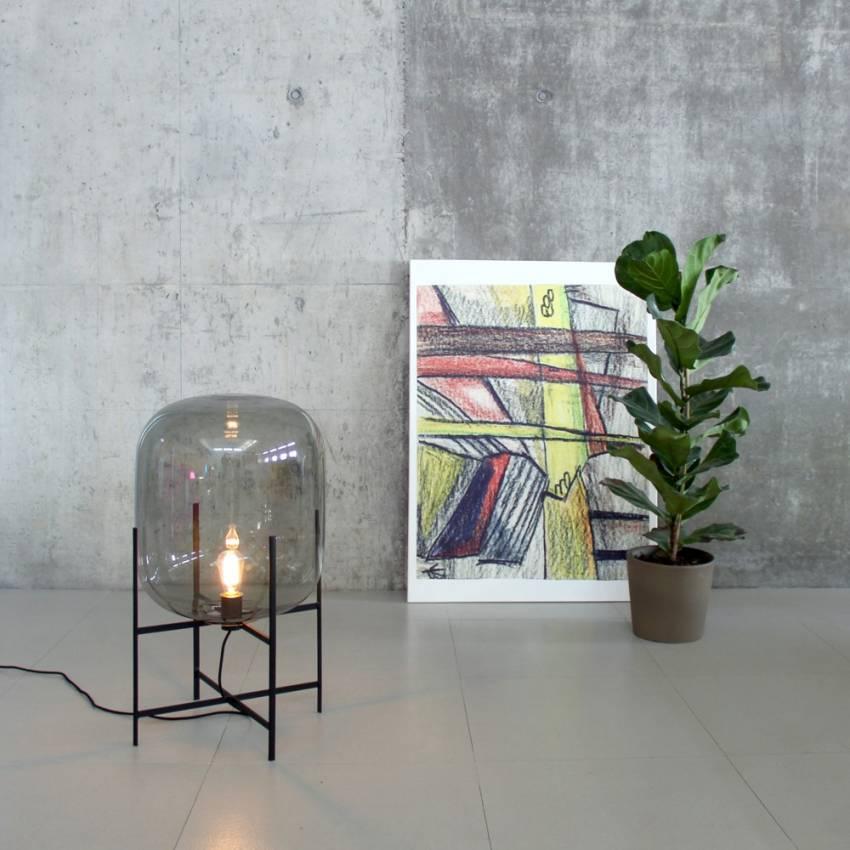 Lampe ODA MEDIUM / Gris base noir
