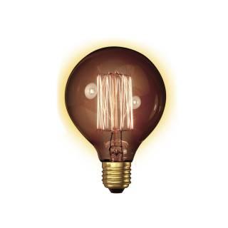 Ampoule globe ambre à filament carbone / 60W culot E27