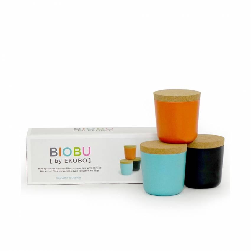 Lot de 3 petits bocaux GUSTO BIOBU en bambou orange, noir et bleu lagon - Ekobo