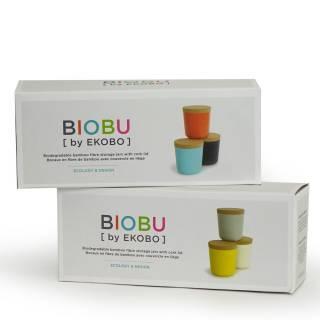Lot de 3 grands bocaux GUSTO BIOBU en bambou taupe, blanc et jaune - Ekobo