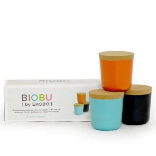 Lot de 3 grands bocaux GUSTO BIOBU en bambou orange, noir et bleu lagon - Ekobo