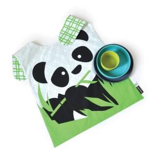 Set de table enfant BIOBU Panda gris, bleu lagon et vert acide - Ekobo