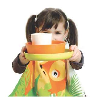 Set de table enfant BIOBU Orang-Outan blanc, orange et vert - Ekobo