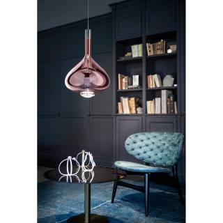Luminaire Studio Italia - SKY FALL suspension LED en Verre teinté rose métallisé