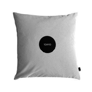 Coussin Tokyo et rembourrage de luxe / Noir et Blanc - HJEM
