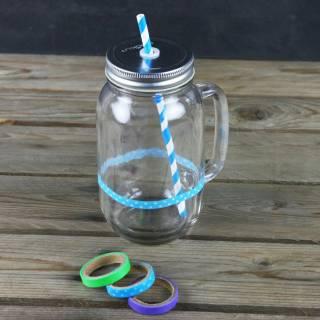 Lot de 2 bocaux avec pailles Mason jars - Cookut