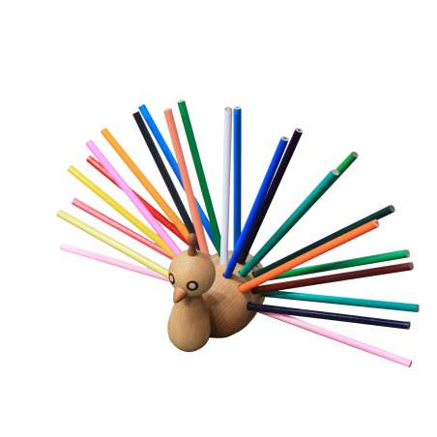 Porte-crayons PEACOCK en bois / 24 crayons fournis