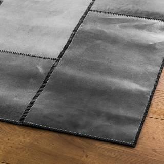 Tapis LEATHERrug NEW cuir / Gris