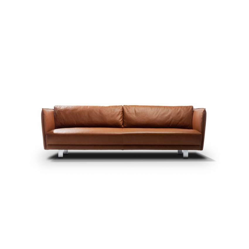 Canapé vintage VIC en cuir marron haut de gamme - Moome