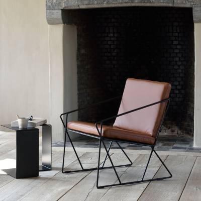 Fauteuil AUDE / Structure acier noir - Cuir Marron