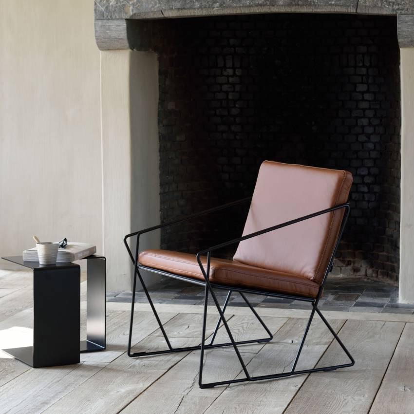 Fauteuil AUDE en cuir marron et structure acier noir - Moome