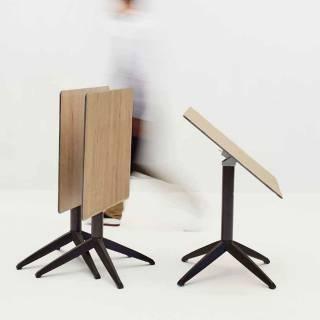 Table pliable extérieur QUITRO compact bois pied choco
