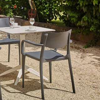 Table pliable outdoor QUITRO compact blanc pied blanc