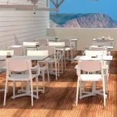 Table outdoor KISO / Compact blanc / 4 plateaux au choix