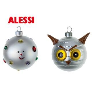 Lot 2 boules de Noël Flocon & Chouette - Alessi