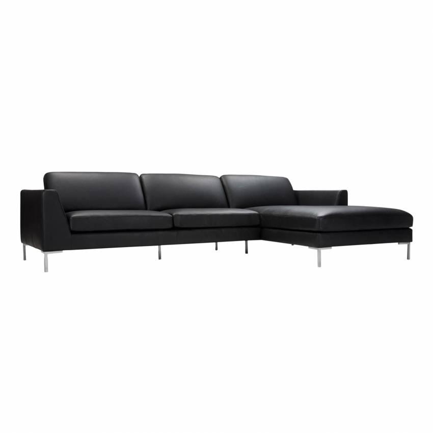 Sits / Canapé d'angle OHIO cuir haut de gamme noir