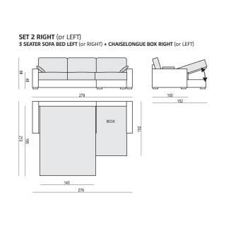 Sits / Canapé d'angle convertible LUKAS 3 places + méridienne bleu clair