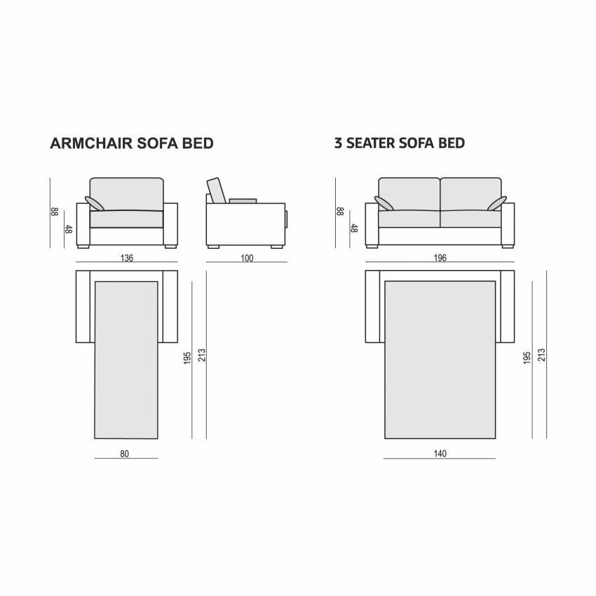Sits / Canapé convertible LUKAS 3 places tissu nancy gris foncé