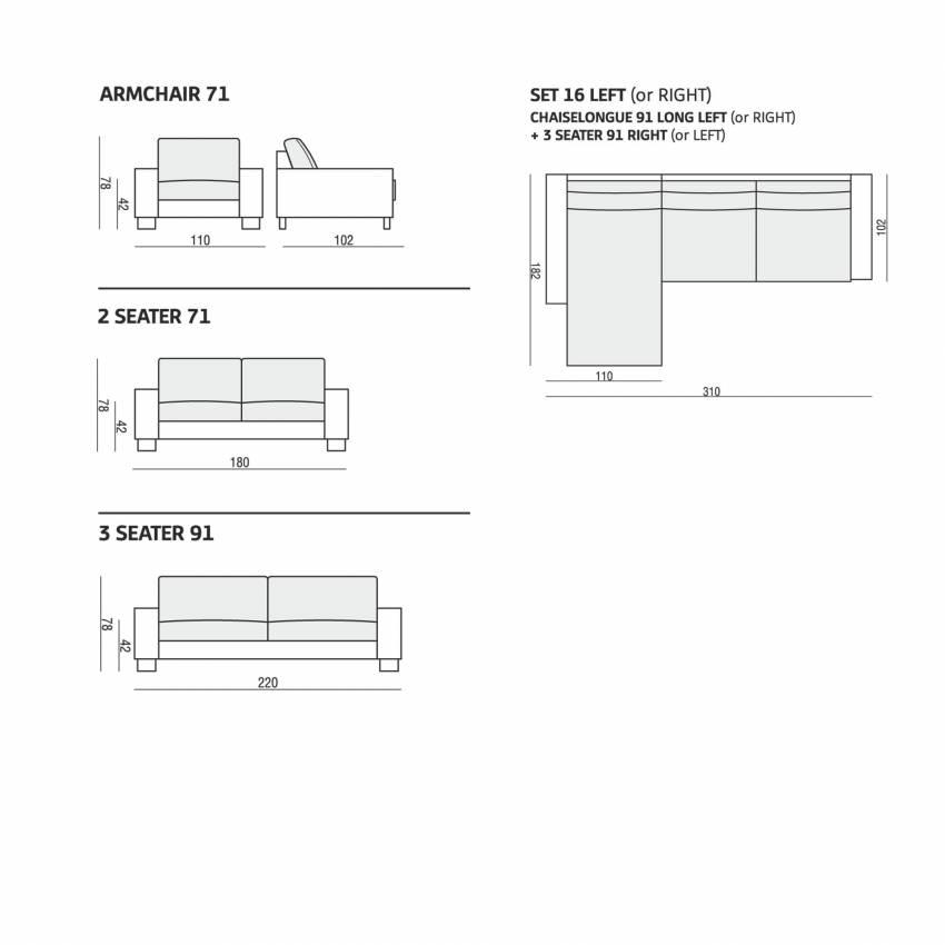 Sits / Canapé QUATTRO 2 ou 3 places en tissu gris