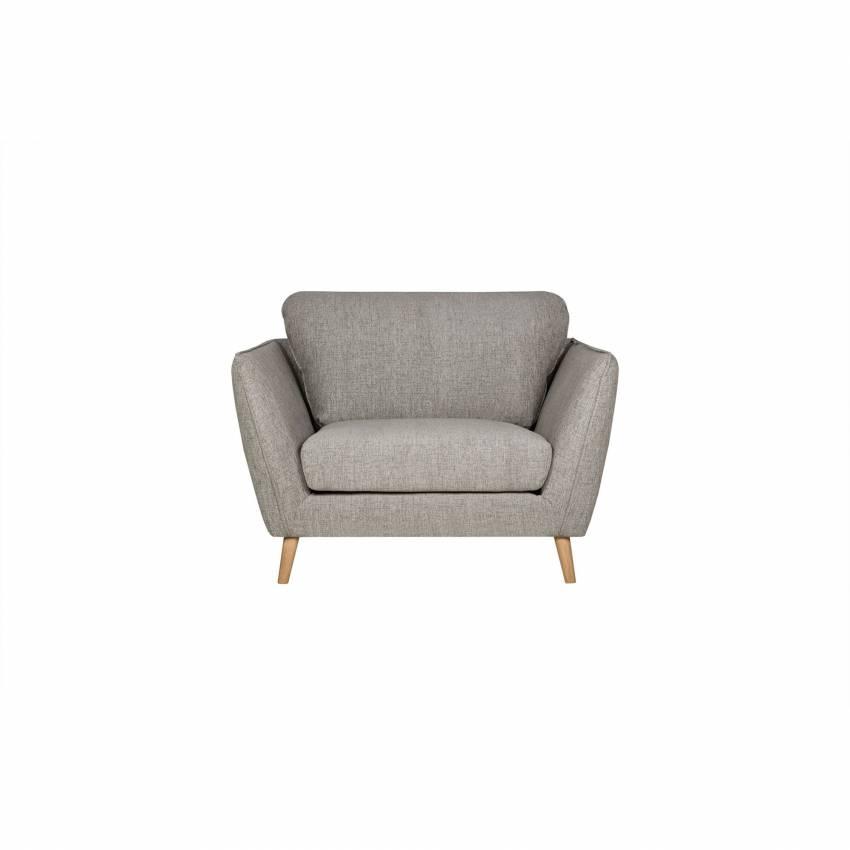 Comment Nettoyer Un Canapé En Cuir Gris Clair fauteuil stella / piètement bois / tissu gris clair