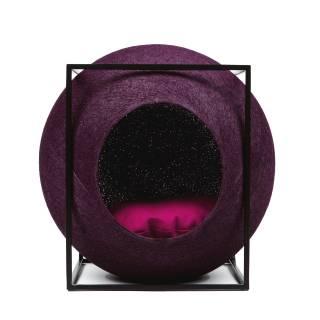 Mobilier pour chat LE CUBE prune métal noir - Meyou Paris