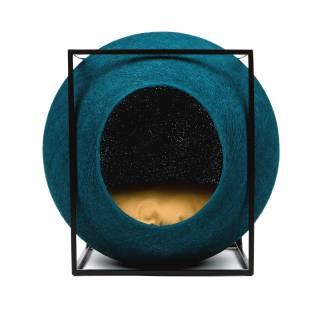 Mobilier pour chat LE CUBE turquoise métal noir - Meyou Paris