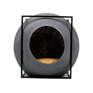 Mobilier pour chat LE CUBE anthracite métal noir - Meyou Paris