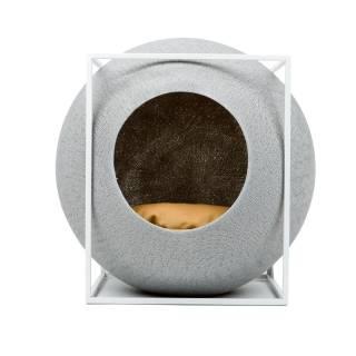Mobilier pour chat LE CUBE gris clair métal blanc - Meyou Paris