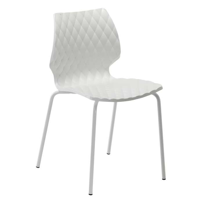 Metalmobil / Chaise outdoor UNI blanche pieds blanc
