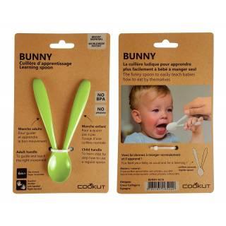 Cuillère d'apprentissage Bunny vert pomme - Enfant Cookut