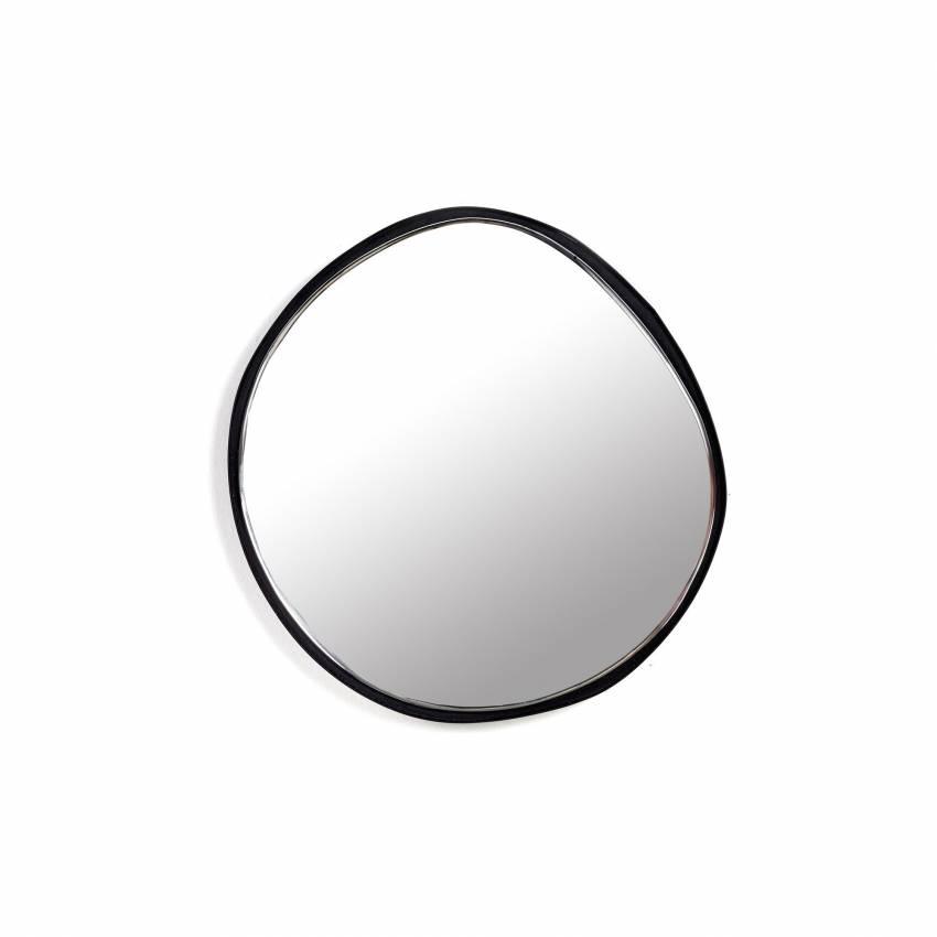 Miroir ovale MIRROR A chez Serax / Cadre Noir / Ø 21,5 cm