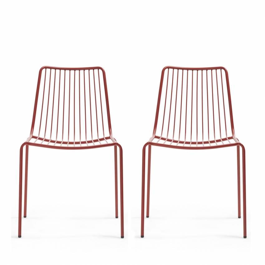 Lot de 2 chaises de jardin NOLITA 3651 rouge - Pedrali