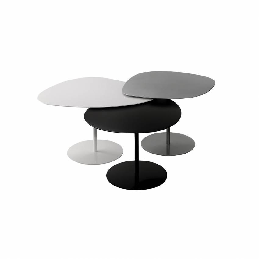 Lot 3 tables basses GALETS outdoor blanc, gris alu et noir - Matière Grise
