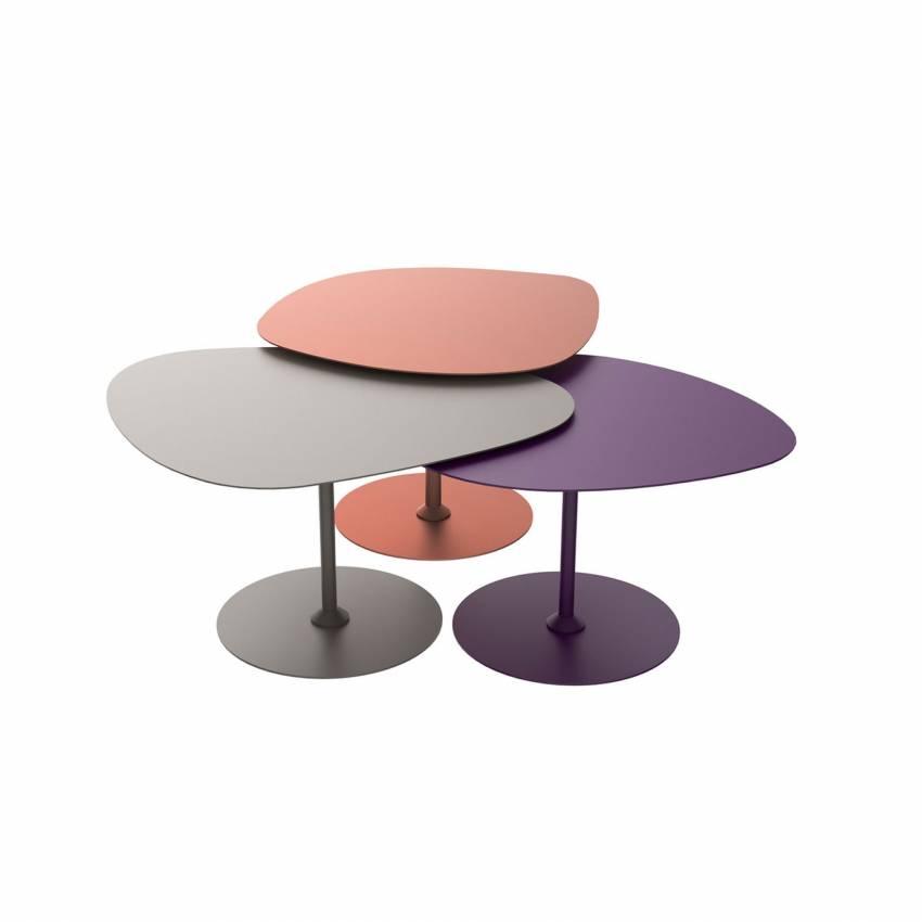 Lot 3 tables basses GALETS outdoor cuivre, taupe et aubergine - Matière Grise