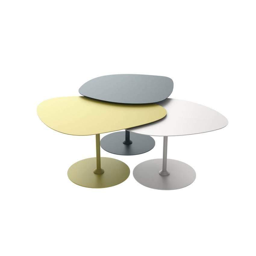 Lot 3 tables basses GALETS outdoor bleu canard, craie et vert mousse - Matière Grise