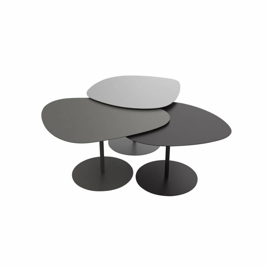 Lot 3 tables basses GALETS outdoor gris alu, noir et taupe - Matière Grise