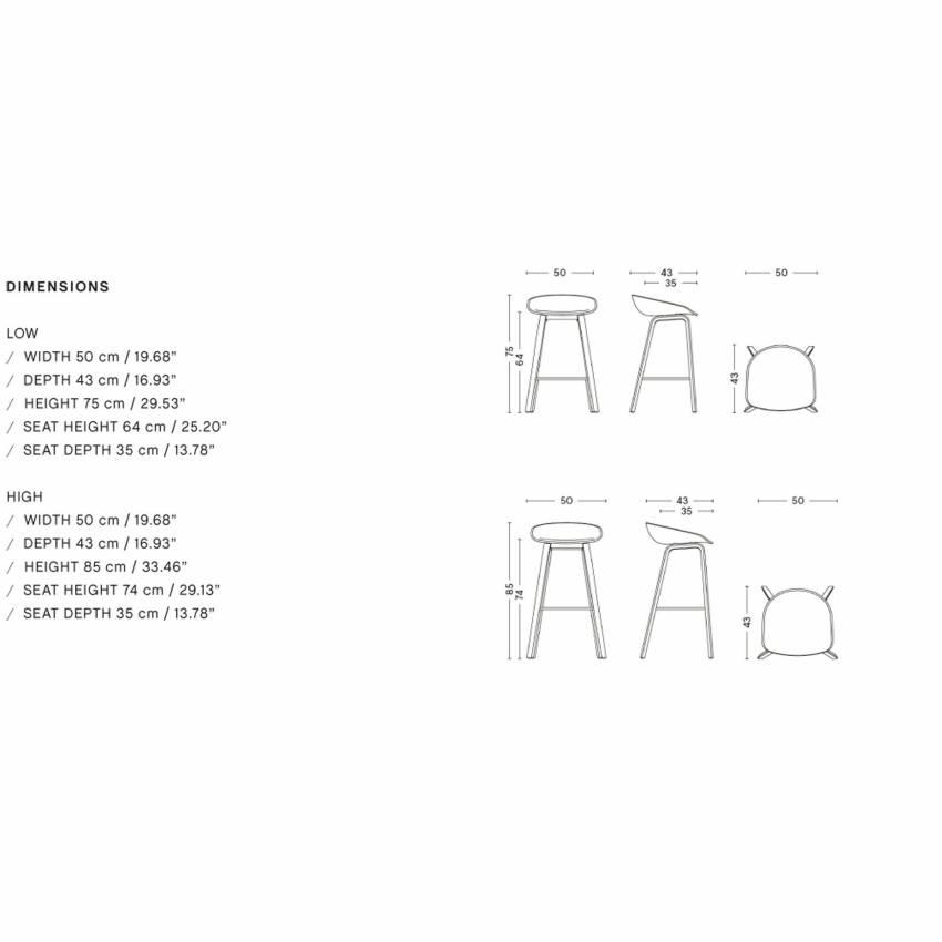 Tabouret de bar ABOUT A STOOL AAS 32 / Plastique et piètement bois - H 75 ou 65 cm